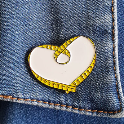 sewing heart enamel pin