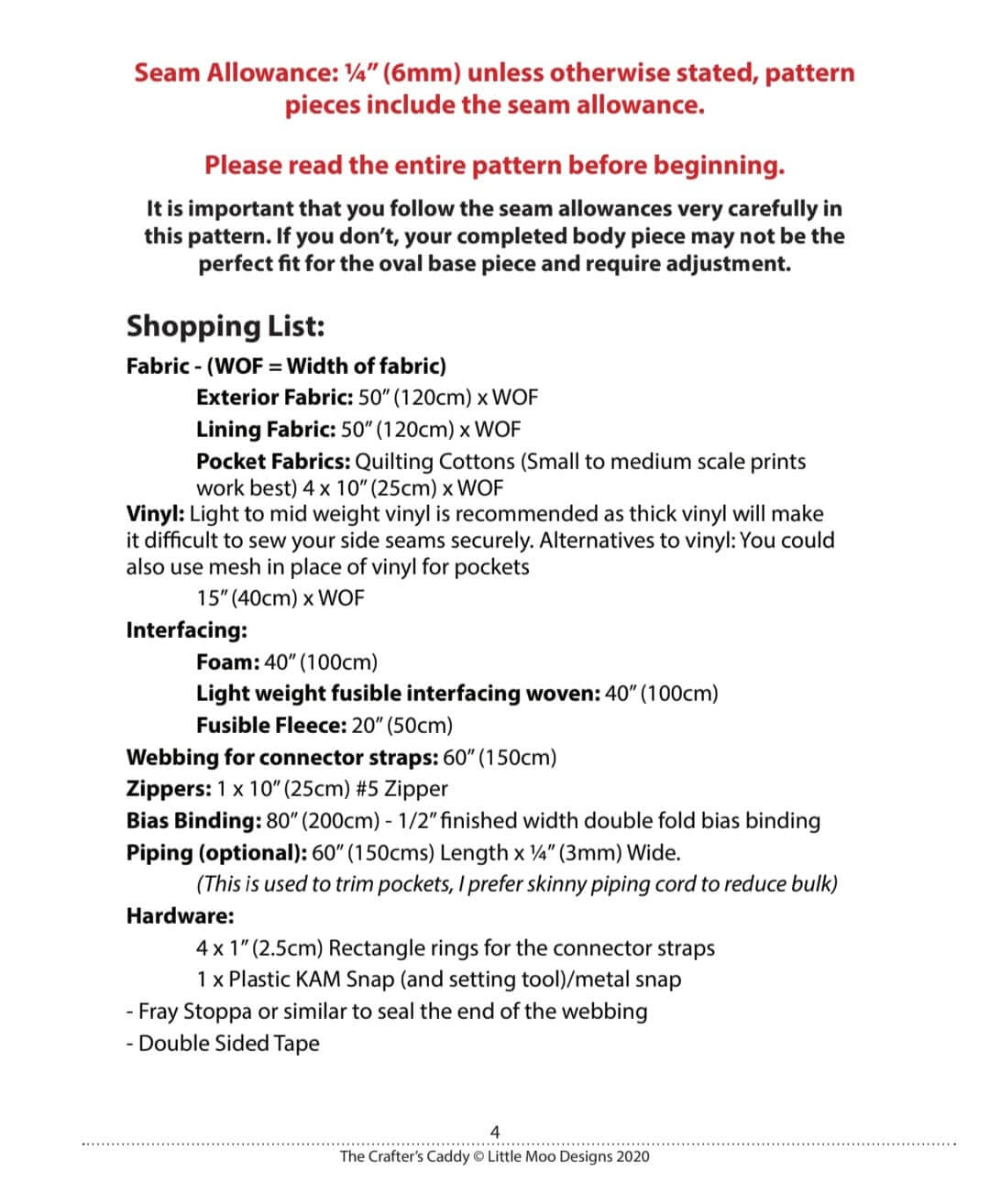 Requirements List The Crafter's Caddy
